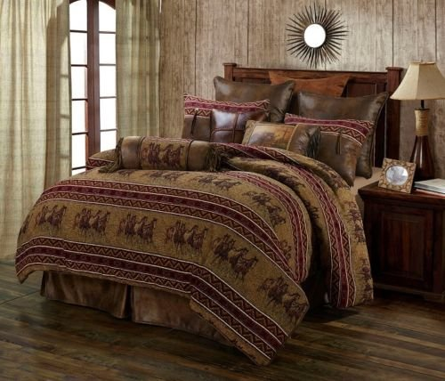 Running Horse Western 5 Piece Super Queen Comforter Bedding Set Includes: (1 Comforter, 2 Pillow Shams, 1 Bedskirt, 1 Neckroll Pillow) - Ranch Equestrian - SAVE BIG ON BUNDLING!