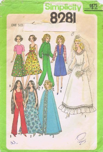 Cher Barbie Farrah Doll Clothes Wardrobe 1970s Simplicity 8281 Vintage Sewing Pattern