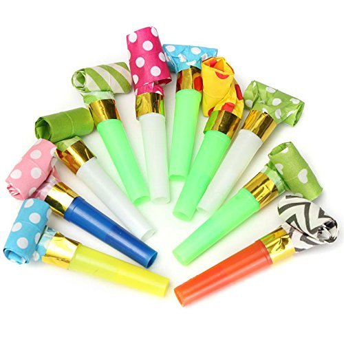 New Years Party Noisemakers by Chapter Seven Halloween,Party Accessory Christmas Party 50 Packs music Blowouts Whistles Toys for Birthday Party Favors Children Party