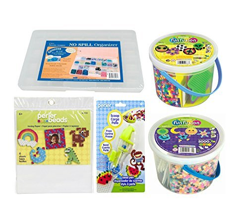 Perler Beads Pegboards Bundle - Glow in the Dark Kit and 6000 Count Buckets, Ironing Papers, Bead Pen and Craft Storage Box by Perler