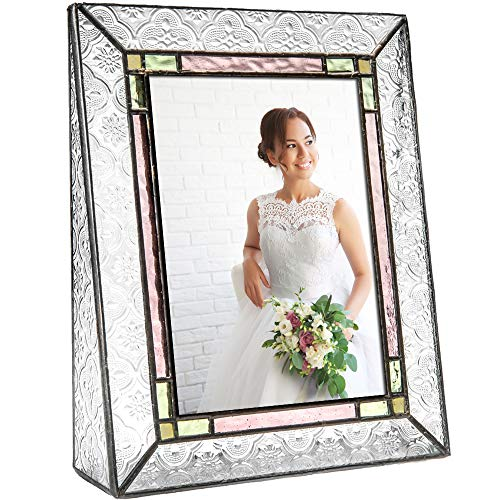 J Devlin Pic 137-57V Vintage Stained Glass Picture Frame Tabletop 5x7 Vertical Photo Frame Colorful Pale Purple Green Amber Family Picture Frame (137 Glasses)