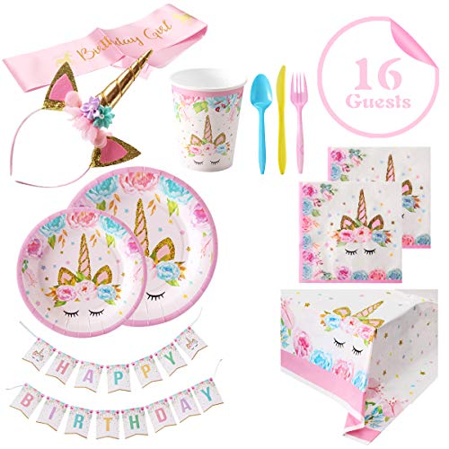 Unicorn Party Supplies For Birthday - Set of 16 Including Cake Plates, Cups, Napkins, Tableware, Table Cover, Birthday Banner, Unicorn Headband and Pink Satin Sash, Magical Fantasy Birthday Decoration for Girls