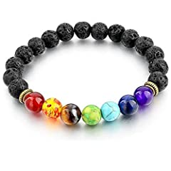 Instructions:  1.Handmade bracelets. Adjustable to fit most of the wrist.  2.Approximately 19 cm in length  3.meditation, grounding, healing,aromatherapy, luck with you around! 4. Seven Chakra are as follows: amethyst; lapis lazuli; turquoise; imperi...