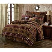 Running Horse Western 5 Piece Super King Size Comforter Bedding Set Includes: (1 Comforter, 2 Pillow Shams, 1 Bedskirt, 1 Neckroll Pillow) - Ranch Equestrian - SAVE BIG ON BUNDLING!