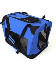 Pet Travel Carrier Soft Crate Portable Puppy Dog Cat Kitten Cage Kennel Home House Blue (Medium 60x40cm)