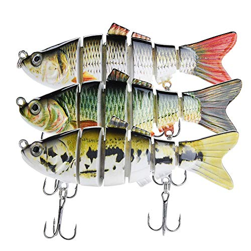 Bass Fishing Lures - Pack of 3 Artificial 6-Joint Fishing Baits - Realistic Swimbaits Lures for Bass - Carbon Steel Hard Bait - 3D Eye Design - Rigged with Durable Hooks - 3.93-inch ABS Fish Lure