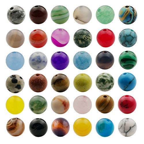 Natural Stone Beads Mixed 50pcs 8mm Round Loose Gemstone Amethyst Black Obsidian Lava Stone Amazonlite Assorted Color for Jewelry Making Bracelet Necklace Earrings with 60 Pcs Spacer Beads M272