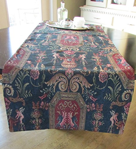 Corona Decor Extra-Wide Italian Woven Ornate Table Runner, 95 by 26-Inch, Blue by Corona Decor Co.