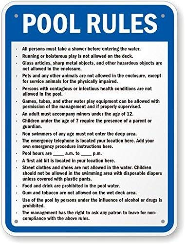 Eletina vipool Arkansas Custom Pool Rules Sign 8 X 12 Inch