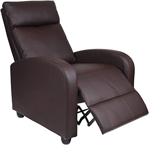 Polar Aurora Single Manual Recliner Chair Padded Seat PU Leather Living Room Sofa Modern Recliner Seat Home Theater Seating for Living Room Brown -PU