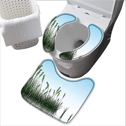 Universal Toilet seat Lake Bush Grass Image Print Light Blue Jade Green Convenient Safety and Hygiene L15 x W 4.3
