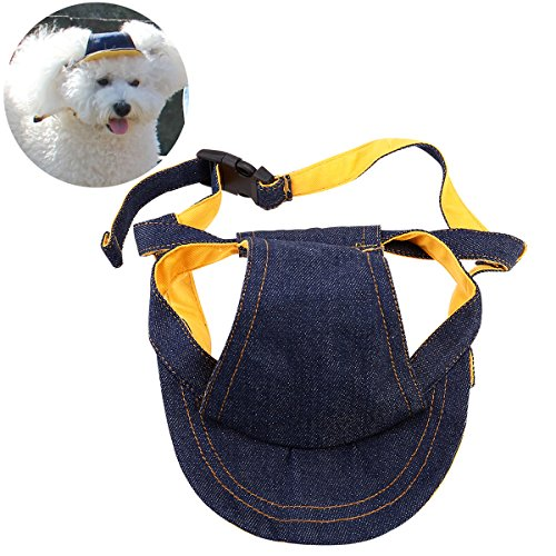 UEETEK Pet Dog Puppy Baseball Cap Visor Hat Sunhat Adjustable Chin Strap Sunbonnet, Size S for 11