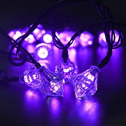 HomJo Solar Lights String Outdoor Garden Lights 20LED Diamond Pendant Holiday Wedding Garden Decoration Energy Saving Lantern , 1 Christmas Lights Transparent Tumblr