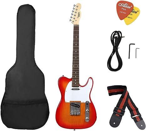 BLKykll Guitarra Eléctrica - R-160 Principiante Estudiante Adulto Tocando Instrumento De Guitarra Guitarra 4/4 De Madera, Kit De Guitarra Eléctrica Mochila Baja, Correa, Cable De 3 Metros, Etc.: Amazon.es: Deportes y aire libre
