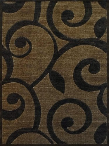 Modern Area Rug Brown Americana Design 154 Americana 6ft.X9ft.