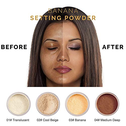 PHOERA Powder Loose Face Powder Translucent Smooth Setting Foundation Makeup By lotus.flower (Cool Beige)