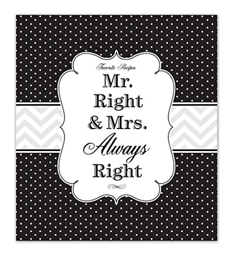 Brownlow Gifts Recipe Binder Set with Plastic Page Protectors and Recipe Cards, Mr. and Mrs. Right