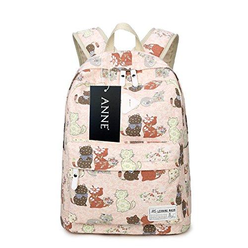 Anne - Bolso mochila  de Lona para mujer negro amarillo Pink cat