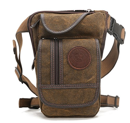 Shubb Canvas Tactical Drop Leg Bag Pack Fanny Bag Pack for Men and Women coffee