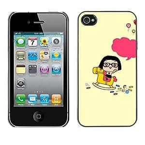 Be Good Phone Accessory // Dura Cáscara cubierta Protectora Caso Carcasa Funda de Protección para Apple Iphone 4 / 4S // Cute Happy Rocking Horse