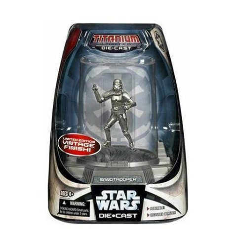 Star Wars Titanium Series Limited Edition Silver Vintage Finish - Sandtrooper with Display - Edition Limited Stormtrooper Helmet