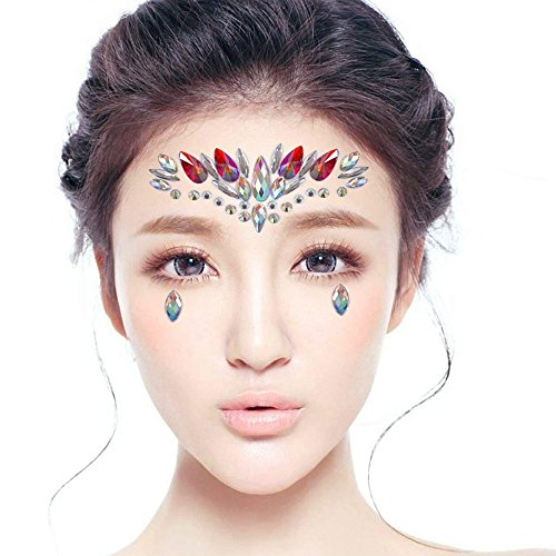 Face Jewels Glitter Temporary Tattoo With Tweezers Tool,6 Sets Body Rhinestone Jewelry Stickers Crystal Mermaid Eyes Tears Gems Stones For Festival Party Women by TTSAM (Image #5)
