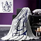 smallbeefly Yoga Digital Printing Blanket Eastern Lord in Lotus Pose Sacred Ritual Peaceful Mind Meditation Shady Illustration Summer Quilt Comforter 80''x60'' Blue White