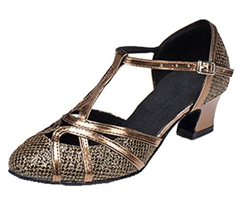 Tda Donna Tacco Medio In Pelle Pu Tango Da Ballo Latino Partito Scarpe Da Ballo Cm101 5cm Marrone