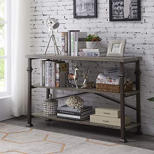 Hombazaar 3 Tier Console Sofa Table, Industrial Rustic Entryway Table with Storage Shelf for Living Room, Hallway, Grey Oak Finish, 47-Inch Long