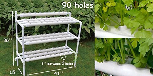 INTBUYING Hydroponic Grow Kit Hydroponic Growing System for Leafy Vegetables 10 Pipes 3 Layers 90 Plant Sites