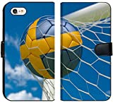 Luxlady iPhone 7 Flip Fabric Wallet Case Image ID: 34532721 Sweden Flag and Football in Goal net