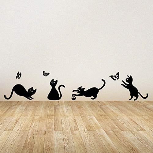 Adhesivo decorativo para pared, diseño de gatos y gatos, para decorar la habitación de los niños, autoadhesivo…