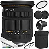 Sigma 17-50mm f/2.8 EX DC OS HSM Zoom Lens for Nikon DSLRs with APS-C Sensors + Lens Caps + Lens Cap Keeper + Lens Hood + Lens Pouch + Microfiber Cleaning Cloth