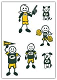 green bay car window decal - NFL Green Bay Packers Small Family Decal Set