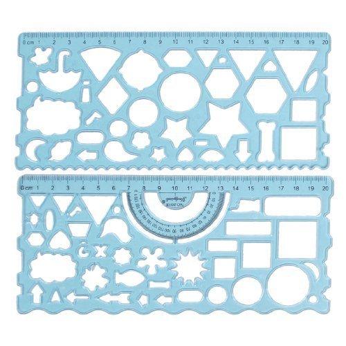 klar blau Plastik Schreibwaren Messung Zeichen Schablone Lineal Winkelmesser de