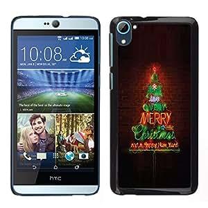 TopCaseStore / la caja del caucho duro de la cubierta de protección de la piel - Merry Christmas Tree Lights Brick Wall - HTC Desire D826