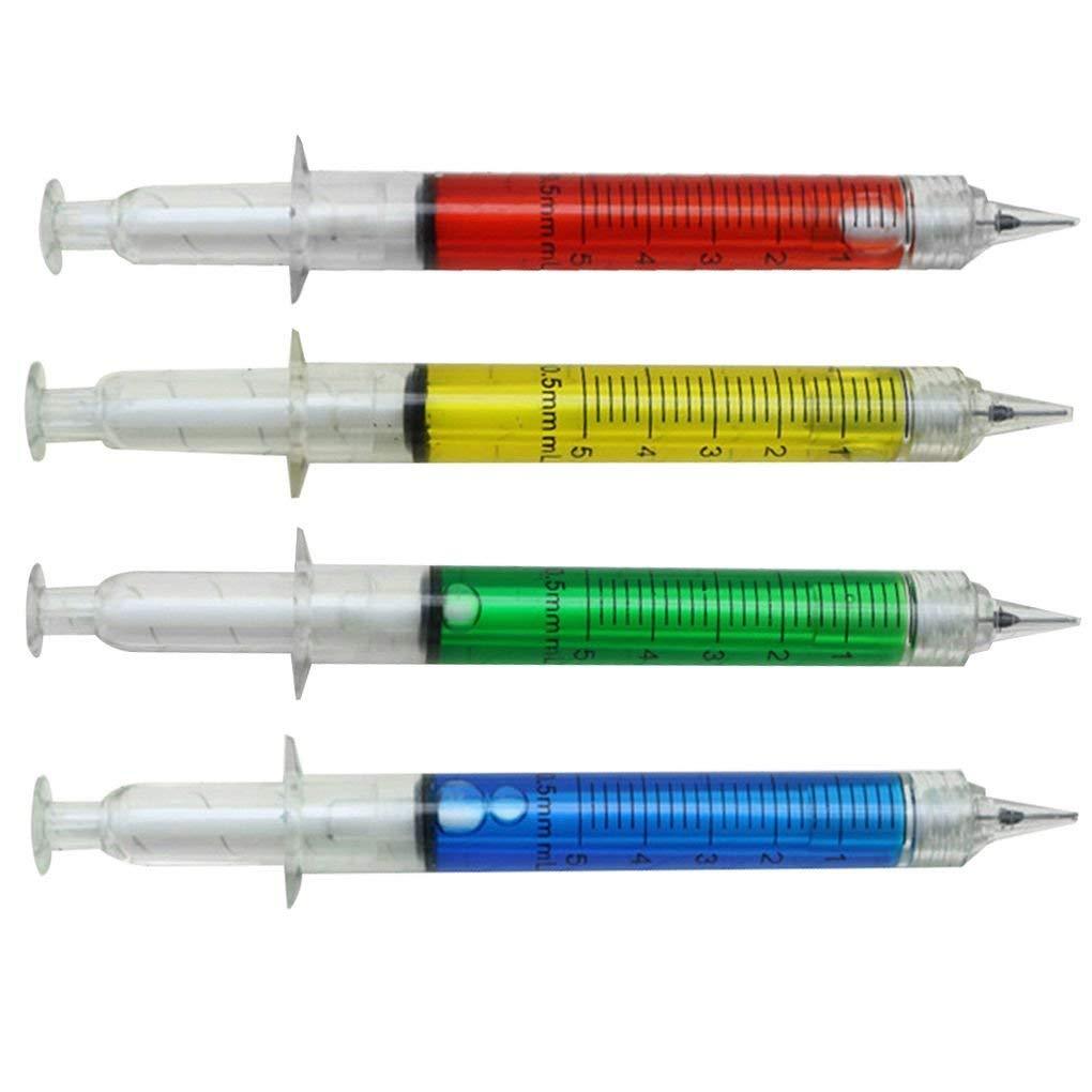 Ogquaton Calidad superior 4 unids 0.5 mm recarga azul bol/ígrafos jeringa en forma Ballpen School Stationery Supplies regalos