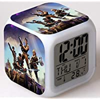 Vita LED Fortnite Alarm Clock with USB Line Digital 7 Color Clock with Snooze Function LCD Screen Display Time Date Temperature Best Gift for Christmas Birthday Fortnite Lover