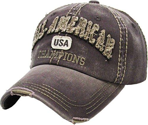 Hat Vintage Era (KBVT-631 DGY Fashion Vintage Baseball Cap Distressed Washed Dad Hat Adjustable)