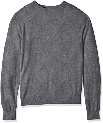 (BUTTONED DOWN Men's 100% Premium Cashmere Crewneck Sweater, Dark Grey, Large)