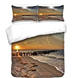 iPrint 3Pcs Duvet Cover Set,Space,Magical Solar Eclipse on Beach Ocean with Horizon Sun Moon Globe Gulls Flying View,Cream Orange,Best Bedding Gifts for Family/Friends