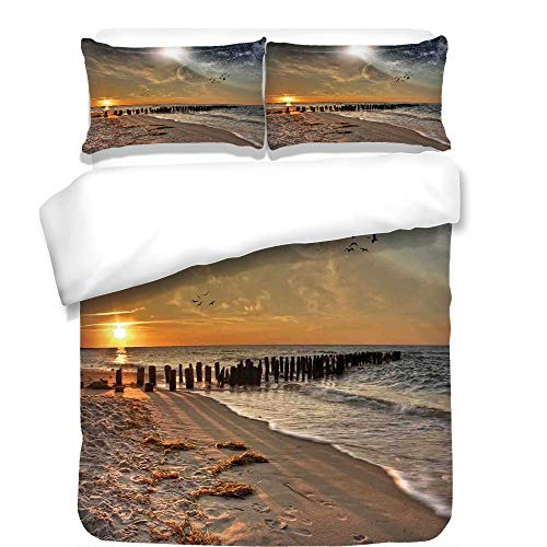 iPrint 3Pcs Duvet Cover Set,Space,Magical Solar Eclipse on Beach Ocean with Horizon Sun Moon Globe Gulls Flying View,Cream Orange,Best Bedding Gifts for Family/Friends by iPrint
