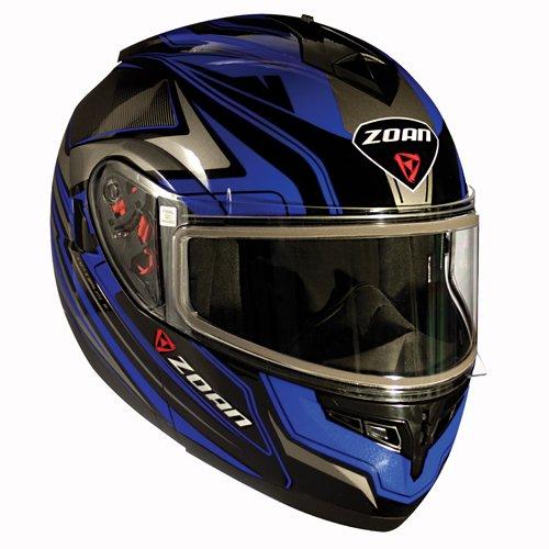Zoan Optimus Eclipse Blue Electric Lens Modular Flip Up Snowmobile Riding Helmet - Modular Eclipse Helmet Snow