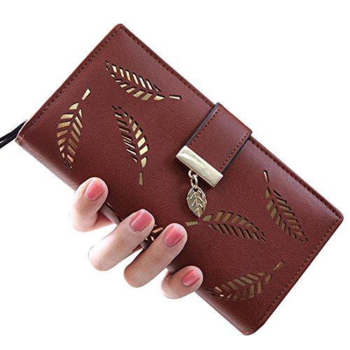Damen Lang Leaf Faltportemonnaie Leder hohl Kartenhalter Portemonnaie Clutch Handtasche mehrere Taschen Leder wallet-aolvo blau Coffee