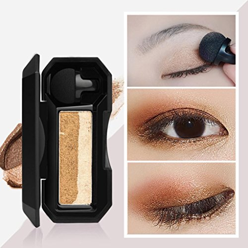 Waterproof Shimmer Two-color Stamp Eyeshadow Palette Makeup Powder Flexibility Lasting Natural Shimmer Set By DMZing (5 Color-D)