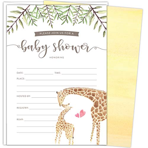 Koko Paper Co Giraffe Baby Shower Invitations. Set of 25 Fill-In Style Cards and White Envelopes. Gender-NeutralWatercolor Giraffe Mother and Baby Green Florals Designs. Printed on Heavy Card Stock.