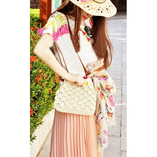 Donalworld Lady Mini Hollow Out Casual Beach Bag Hasp Straw Shoulder Bag Beige by Donalworld (Image #4)