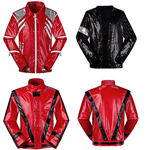 Michael Jackson Jacket Thriller Beat it Billie Jean MJ Jacket Dress Cosplay Halloween Party Coat (Weight:42-55kg H:5.1-5.5, Thriller)