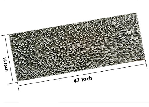 Fashion Dream Long Bath Rug Microfiber Shag kitchen Rug Runner Bathroom Mat Grey 16 x 47-Inches