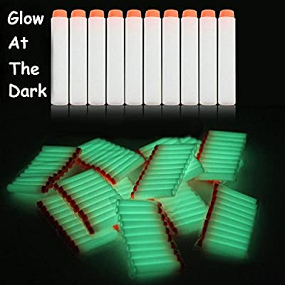 AMOSTING 100Pcs Refill Darts for Nerf N-Strike Elite Modulus Glow at Dark Bullets - White: Toys & Games